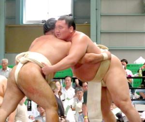 白鵬(右)は琴恵光を指名して秋場所に向けて相撲を取る稽古を再開