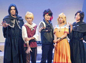 舞台あいさつも行った(左から)冨森ジャスティン、奥井那我人、松本慎也、天音みほ、花奈澪