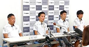 東京五輪マラソン代表選考会に向けて意気込みを語るMHPSマラソン部(左から黒木純監督、井上大仁、木滑良、岩田勇治)