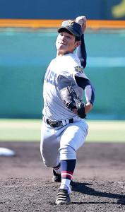 14日の鳴門戦で、4回途中から登板した仙台育英・大栄