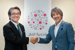 HIROTSUバイオサイエンスの代表取締役・広津崇亮氏と、「JAAF RunLink」チーフオフィサーの早野忠昭氏