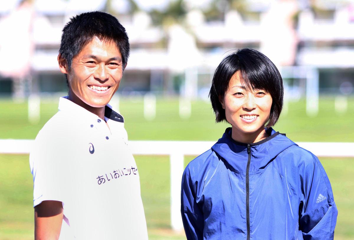 ニューカレドニアマラソンで優勝した川内優輝と2位の妻・侑子さん