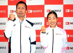 世界陸上に出場するノーリツの(左から)里内正幸監督、中野円花