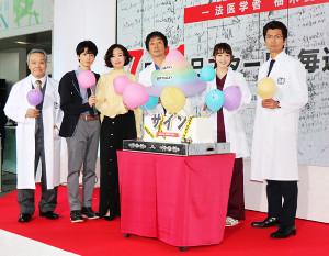 「サイン」出演の(左から)西田敏行、高杉真宙、松雪泰子、大森南朋、飯豊まりえ、仲村トオル