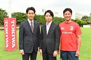 「ノーサイド・ゲーム」に出演する(左から)大泉洋、櫻井翔、廣瀬俊明