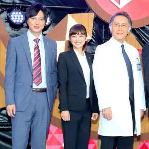 「刑事7人」出演の(左から)塚本高史、倉科カナ、北大路欣也