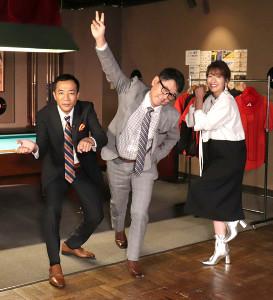 新番組「プロ野球 そこそこ昔ばなし」の初回収録に出席した(左から)ナイツの塙宣之、土屋伸之、吉田明世アナ