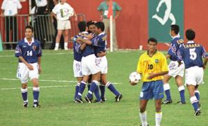 """96年7月、アトランタ五輪予選1次リーグでブラジルを破る""""マイアミの奇跡""""を起こした日本代表イレブン"""
