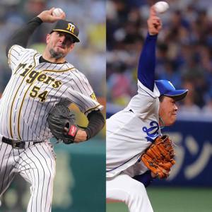 阪神・メッセンジャー(左)と中日・柳