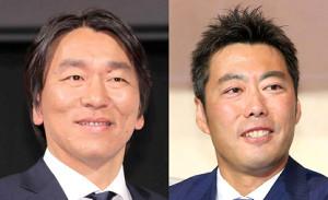 松井秀喜氏(左)と上原浩治氏