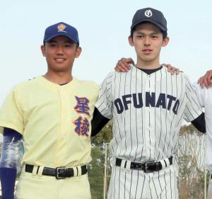 星稜・奥川恭伸(左)と大船渡・佐々木朗希