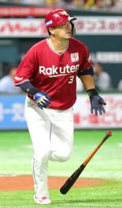 3回無死、浅村が右越え本塁打を放つ