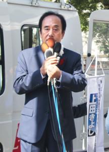 参院埼玉補選で決意表明を語る上田清司氏