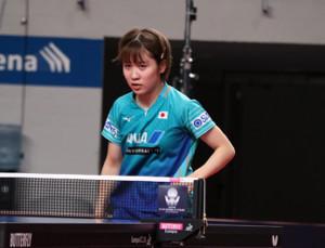 初戦で中国選手に敗れた平野美宇(ブレーメンアリーナで)