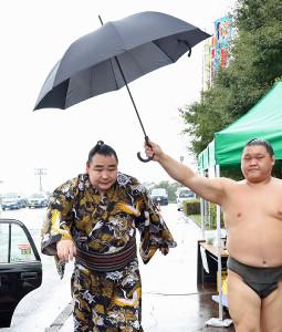 8日の糸魚川市巡業 雨の中、巡業場所入りする鶴竜(左)