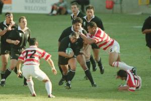 1995年6月4日、ラグビーW杯南アフリカ大会1次リーグ第3戦、ニュージーランドと対戦した日本フィフティーン(カメラ・越川 亘)