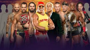 ホーガン軍VSフレアー軍に参戦する中邑真輔(右端)(C)2019 WWE, Inc. All Rights Reserved.