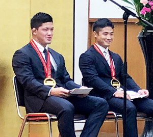 柔道世界選手権祝勝会に出席した大野と丸山