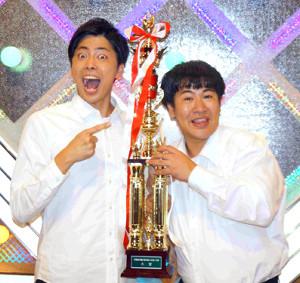 「令和元年度NHK新人お笑い大賞」に輝いた「ラフレクラン」の、きょん(右)と西村真二