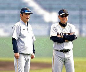 来季、原監督(右)と共に日本一を目指す元木ヘッドコーチ