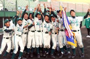 優勝し喜ぶ大阪南海ナイン