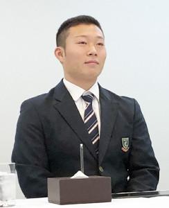 阪神との入団交渉に臨み、仮契約したドラフト5位の藤田健斗