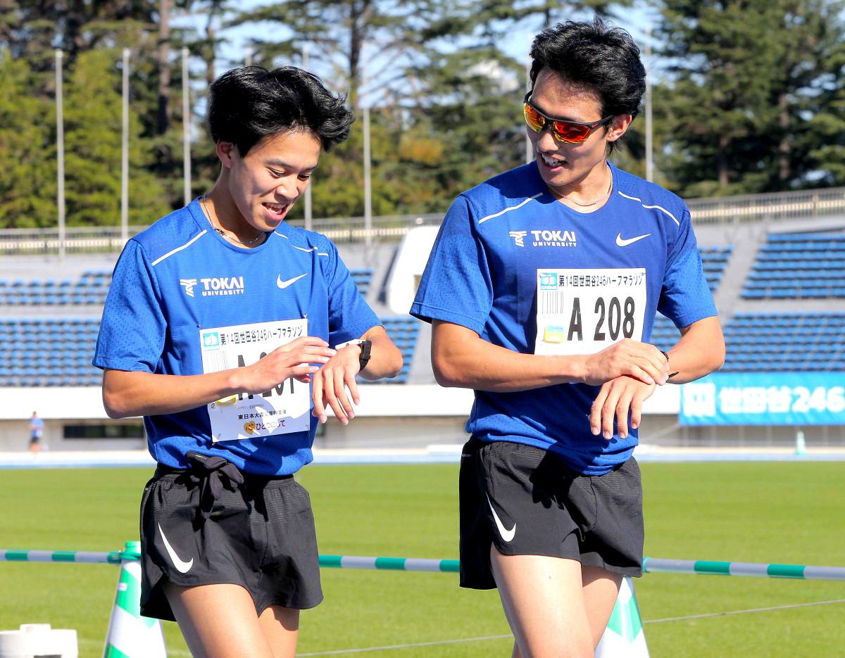 練習を兼ねて出場した東海大・館沢(右)
