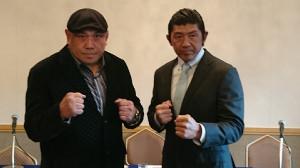 会見した藤田和之(左)と船木誠勝