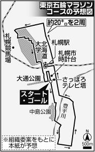 東京五輪マラソンコースの予想図