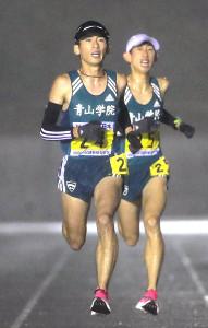 9組でトップを走る青学大・中村友哉