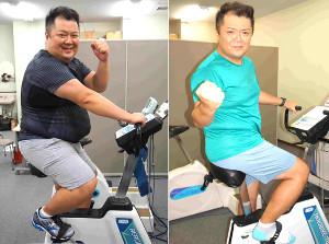 大阪マラソンでの完走を目指すブラックマヨネーズ・小杉竜一。ダイエット前の昨年10月(左)と30キロ以上減量した今年10月