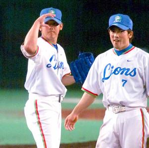 西武時代の松坂と松井(2001年)