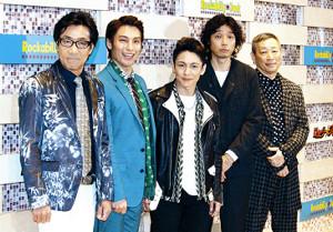 公開稽古前に取材に応じた(左から)岸谷五朗、海宝直人、屋良朝幸、斉藤和義、森雪之丞