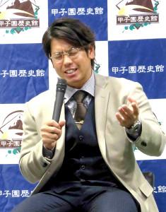 甲子園歴史館でトークショーを行った梅野