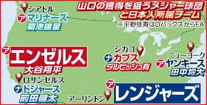 山口の獲得を狙うメジャー球団と日本人所属チーム