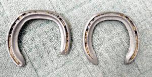 アーモンドアイの実際の蹄鉄。右前脚(左)は、左前脚に比べて短くなっているのが分かる