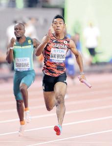 ドーハ世界陸上の男子400メートルリレー決勝で4走を務め、躍動感ある走りを見せたサニブラウン