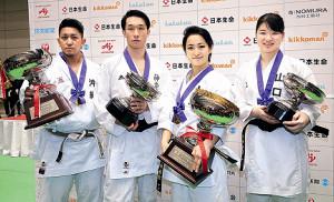 全日本選手権で優勝した(左から)男子形の喜友名諒、男子組手の五明宏人、女子形の清水希容、女子組手の斎藤綾夏