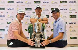 国内男子プロゴルフツアー開幕戦のSMBCシンガポールオープンの公式会見に出席した(左から)リオ五輪金メダルのローズ(英国)、銀メダルのステンソン(スウェーデン)、銅メダルのクーチャー(米国)