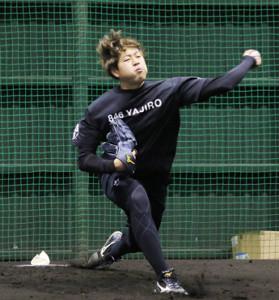 ブルペン入りし、34球を投げた堀(カメラ・秦 雄太郎)
