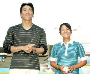 松井秀喜氏(左)と宮里藍さん