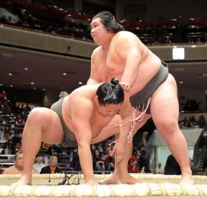 旭蒼天(左)をはたき込みで下し、序ノ口デビューから23連勝を飾った元林