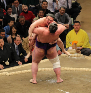 炎鵬(左)は栃ノ心につり出しで敗れる(カメラ・越川 亘)