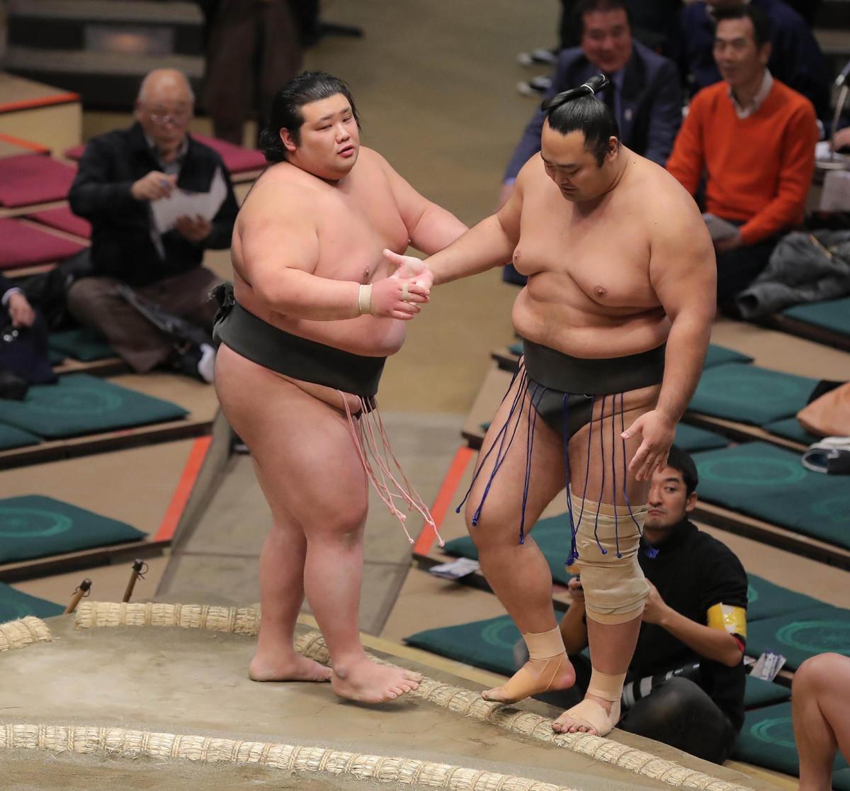 希善龍を押し出しで破った元林(左)