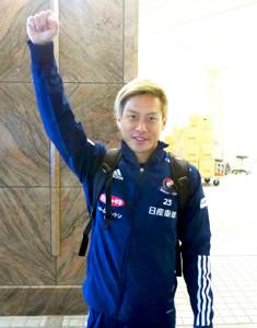 新ゴールパフォーマンス候補の「2、3ダ―」ポーズをする横浜M・仲川