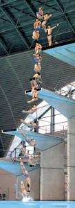 男子高飛び込みで優勝した玉井の「307C」の演技(合成写真=カメラ・竜田 卓)