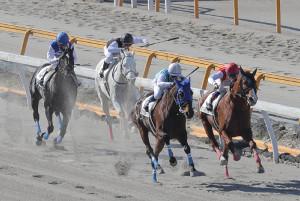 卒業生による模擬レースが行われた(右から)原優介、小林脩斗、秋山稔樹、泉谷楓真