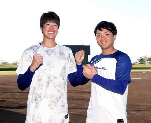 プロでのバッテリー勝利を目指す(左から)梅津晃大と郡司裕也