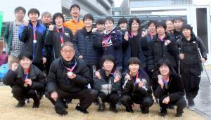 青梅マラソンに出場した東京富士大の卓球部員