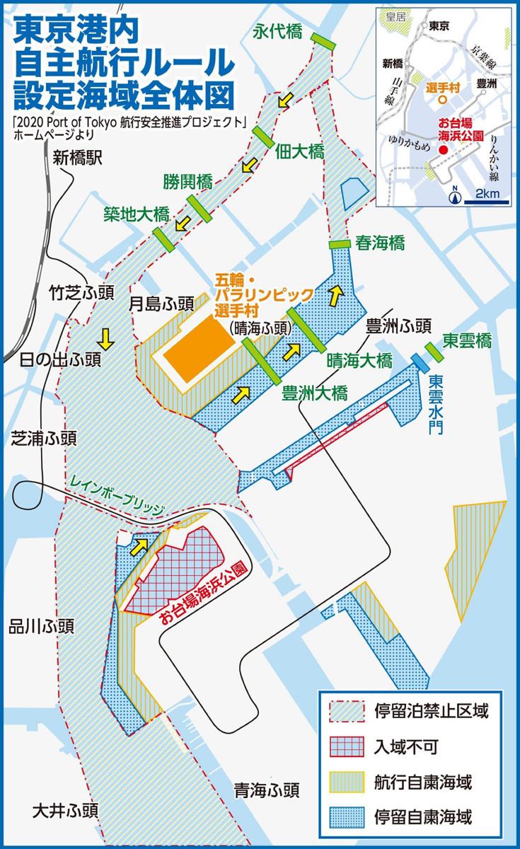 東京港内自主航行ルール設定海域全体図